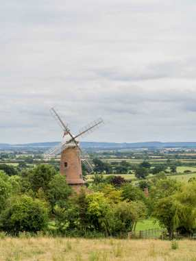 Quainton Windmill and the Chilterns backdrop